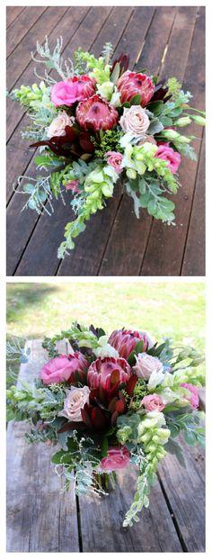 Elodie Perrier #protea #leucodendron #burgundy #snapdragon #pink #white #green #bridalbouquet #eucalyptus #wattle #textures