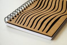 Notebook with wooden cover. Laser cut cover. Plain paper