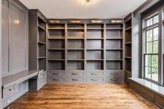 Built-ins Dorian Grey or Dovetail? Floor To Ceiling Bookshelves, Bookshelves Built In, Built In Desk, Built In Cabinets, Bookcases, Custom Bookshelves, Home Library Design, Home Office Design, Home Office Decor