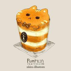 art kawaii - Pumpkin Cat 02 by Nadia Kim Art Kawaii, Chibi Kawaii, Kawaii Doodles, Kawaii Cat, Cute Food Drawings, Cute Kawaii Drawings, Cute Animal Drawings, Cat Anime, Cute Food Art