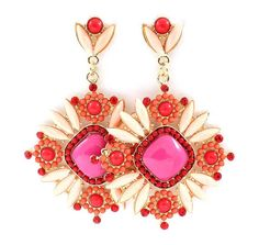 Magnolia Statement Earrings in Raspberry Crush on Emma Stine Limited