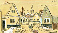 Zima ve vsi,1940 |  tuž., kolor. akvar. s bělob. na pap., 20 × 34 cm Czech Republic, Old Houses, Pictures, Painting, Photos, Old Homes, Painting Art, Paintings, Old Mansions