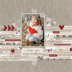 #valentines #scrapbook page from LeeAnne at DesignerDigitals.com