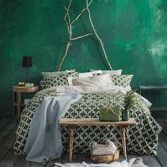 Green boho bedroom