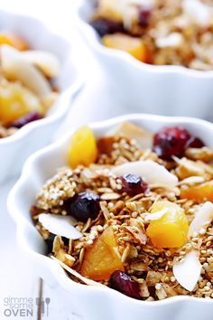 Quinoa Granola Recipe |  2 cups old-fashioned oats 1 cup quinoa (uncooked) 1 cup slivered or roughly-chopped almonds 1/4 cup honey 2 Tbsp. melted coconut oil 1 tsp. salt 1 tsp. ground cinnamon 1 cup shaved coconut (or 2/3 cup grated coconut) 6 oz. dried apricots 6 oz. dried cherries or cranberries