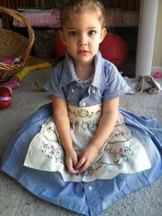 Dress made from her daddy's shirt! How could would it be for her to bring him breakfast in bed wearing this?!