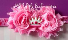 Pink Princess shabby headband  by MyLittleFashionistas on Zibbet