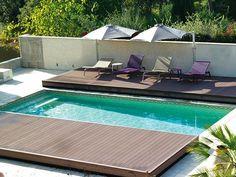 Sliding deck over pool Small Backyard Pools, Small Pools, Pool Decks, Outdoor Pool, Mini Swimming Pool, Swiming Pool, Jacuzzi, Container Pool, Casa Patio