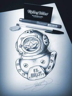 Escafandra... | Ilustración realizada por Javier Jiménez. | Todos los derechos reservados. | Diving Suit... | Illustration made by Javier Jiménez. | All Rights Reserved.