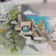 Love Drawing and Design? Finding A Career In Architecture - Drawing On Demand Architecture Sketchbook, Architecture Magazines, Concept Architecture, Facade Architecture, Landscape Architecture, Landscape Sketch, Landscape Drawings, Landscape Design, Sketches Arquitectura
