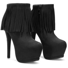 Yoins Tassel High Heels-Black 6.5/7 (58 AUD) ❤ liked on Polyvore