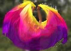 Cheap dance silk veil, Buy Quality belly dance silk veil directly from China silk veil Suppliers: Customized Belly Dance Silk Veils 200cm 250cm 270cm Hand Thrown Scarf Shawl Yellow Orange Pink Purple Gradient  Free Shipping