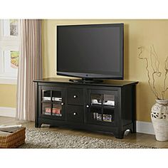 52 in. Black Solid Wood TV Stand | Overstock.com Shopping - Great Deals on Walker Edison Entertainment Centers
