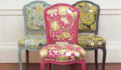 groovey fabrics    Google Image Result for http://blog.nandinahome.com/files/2011/07/Painted-Chairs.jpg