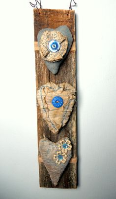 Shabby Meets Primitive BLUE VINTAGE Buttons Wall by CornCobCove