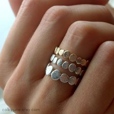 14k Gold Large Pebble Ring  Stacking Ring  door ColbyJuneJewelry