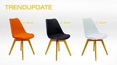 Kawoo - Stuhl, zum Beispiel: orangefarbene Kunststoff-Sitzschale / Eichenholzfüße - Produktnummer: 111216-016-92-200