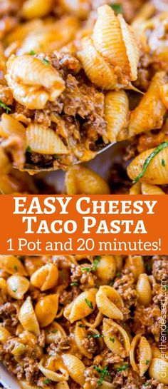 We LOVED this Cheesy Taco Pasta, just like the Hamburger Helper we grew up with! We LOVED this Cheesy Taco Pasta, just like the Hamburger Helper we grew up with! We LOVED this Cheesy Taco Pasta, just like the Hamburger Helper we gr. Yummy Pasta Recipes, Casserole Recipes, Mexican Food Recipes, New Recipes, Yummy Food, Healthy Recipes, Pasta Casserole, Healthy Foods, Taco Pasta Bake