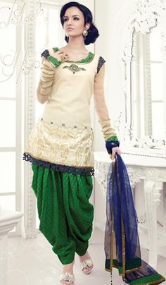 Off White - Green Cotton Silk Embroidered Wedding Salwar Suit - so unique, love the crochet details