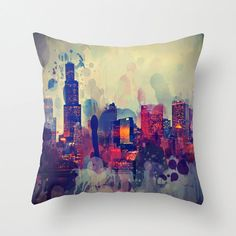 Pillow Cover, Chicago Graffiti City Photo Pillow, Home Decor, Living Room, Bedroom, 16x16, 18x18, 20x20