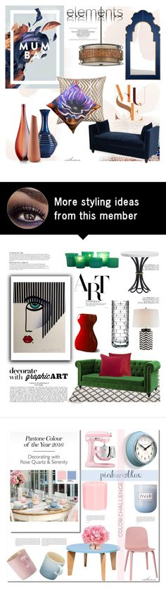 """Graphic Elements"" by arethaman on Polyvore featuring interior, interiors, interior design, Zuhause, home decor, interior decorating, Pillow Decor, Mirror Image Home, Sagebrook Home und Cyan Design"