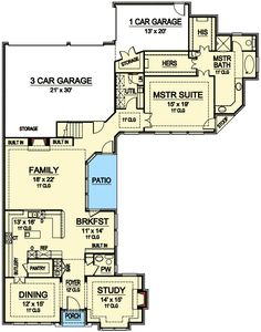 3-Bed House Plan with Parking for 4 Cars in Back - 36239TX | Architectural Designs - House Plans