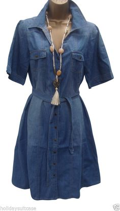 4ca83e63d39 New Ladies Womans Denim Effect Tea Dress Everyday Anytime Plus Size 14 To  30  HS