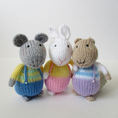 Ravelry: Fluffy, Sniffles and Squeaker pattern by Amanda Berry