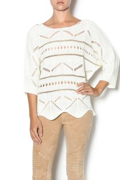 3/4 sleeve light knit sweater with a round neckline, sheer knit deigns and gold horizontal stripes. Wear this sweater with camel short, booties and a burgundy open poncho. Gold Stripe Knit Sweater by Double Zero. Clothing - Sweaters - Crew & Scoop Neck Mississippi