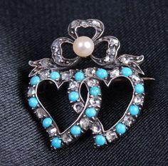 Georgian diamond, turquoise double heart brooch