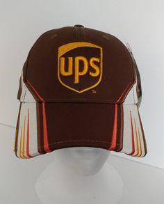 Dale Jarrett 44 UPS Baseball Car Hat Chase Authentics Racing Nascar brown yellow #ChaseAuthenticsDriversLine #RobertYatesRacing
