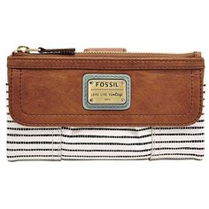Fossil 'Emory' Flap Clutch Wallet ($75) ❤ liked on Polyvore featuring bags, wallets, saddle, clutch wallet, snap closure wallet, flap wallet, multi pocket bag and snap wallet