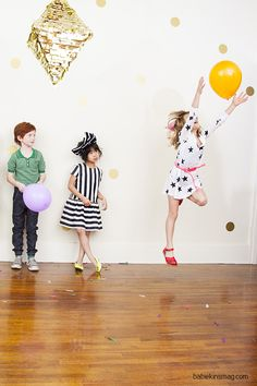 How To Throw A Party// Inspiration, tips and fun and simple games they will love! As seen in Babiekins Magazine Print issue 2.  Produced by Babiekins Magazine. Photo by Gretchen Easton, Wardrobe Styling Heather Rome, Creative Direction and Prop Styling Priscila Barros and Hair and Make up Sue Anne Tiger.