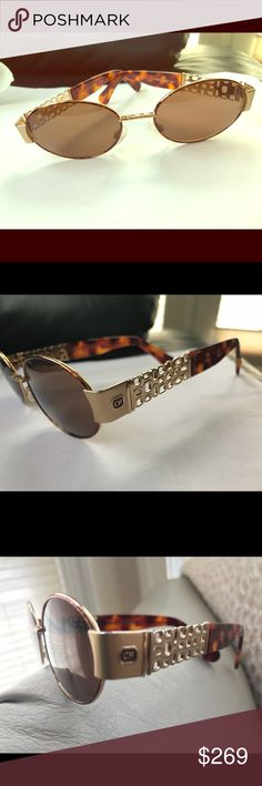 Carolina Herrera sunglasses Rare hard to find! Authentic Carolina Herrera Designer sunglasses. Ch315 Brown plastic lenses. Almost new. Sunglasses only.  Gold and brown mixed metal and plastic *not eligible for bundle discount Carolina Herrera Accessories Glasses