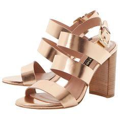 Buy Rose Gold Dune Black Larna Strappy Leather High Block Heel Sandals from our Womens Shoes, Boots & Trainers range at John Lewis & Partners. Block Heel Shoes, Gold Heels, Fashion Socks, Shoe Closet, Gladiator Sandals, Leather, Dune, Black, Summer
