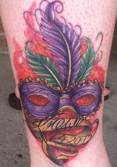 Krewe's DCA BISS win Tattoo! Mardis Gras mask!