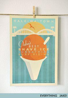 everythingisjake on etsy.com Haleiwa Town 12x18 Retro Hawaii Print (shave ice - yumm) $18