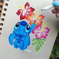 Pin by madison tipton on beautiful dibujos de disney, dibujos stitch, dibuj Cute Disney Drawings, Cute Drawings, Drawing Disney, Pencil Drawings, Disney Tattoos, Disney Stitch Tattoo, Stich Disney, Disney Kunst, Disney Art