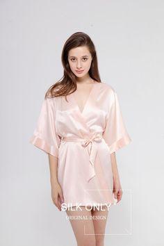 SILK ONLY Bridal Silk Robe - Rose Blush