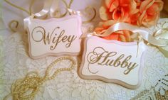Wedding Signs Sparkly Hubby  Wifey Signs Blush Pink Wedding Champagne Wedding Bling Wedding Decor