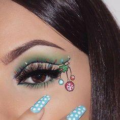 Creative And Gorgeous Christmas Makeup Ideas For The Big Holiday; Christmas Makeup Looks; Holiday Makeup Looks; Christmas Makeup Look, Holiday Makeup Looks, Winter Makeup, Creative Eye Makeup, Eye Makeup Art, Cute Makeup, Awesome Makeup, Easy Makeup, Makeup Goals