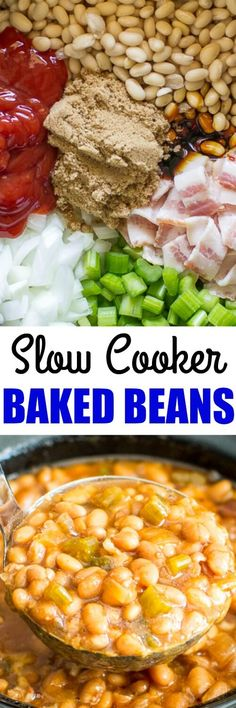 Slow Cooker Baked Beans taste a million times better than what you get out of a can, and you can easily make them in your crock pot OR bean pot! (Favorite Pins Crock Pot)