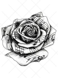This highly detailed black and white temporary tattoo rose appears to be crafted from sheet music.Traditionally a rose tattoo symbolizes hope, love, promise and new beginnings,the music adds energy. T #RoseTattooIdeas