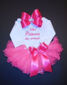 The Princess has arrived embroidered newborn by LittleQTCouture, $42.00