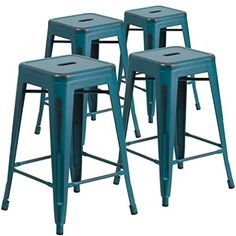 Flash Furniture 24 inch High Backless Metal Indoor-Outdoor Counter Height Stool with Square Seat, 4 Pack, Multiple Colors, Black