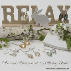 Swarovski Ohrringe mit 925 Sterling Silber Schmuck Online Shop, Place Cards, Amethyst, Place Card Holders, Sterling Silver Jewelry, Gems Jewelry