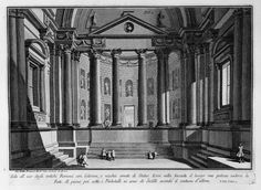 Room use of the ancient Romans with columns and niches adorned with statues - Giovanni Battista Piranesi