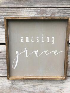Amazing Grace Wood Sign 12 x 12