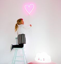 So cute! Pink heart neon lamp - easy to mount on the wall - made in plastic, so it's perfectly safe for kids rooms!