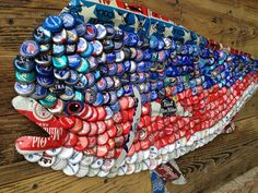Folk Artist Alan Moore - bottle cap steel beer can fish - americana dolphin fish - mahi mahi